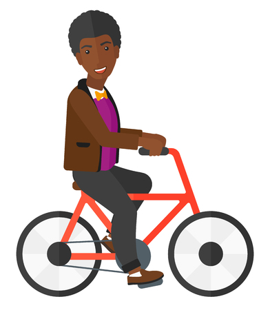 cartoon biker: An african-american man riding a bicycle vector flat design illustration isolated on white background.