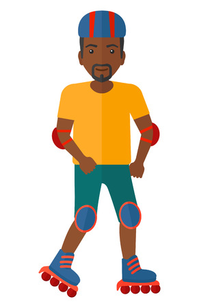 rollerblade: An african-american man on the rollerblades having roller skate exercise  vector flat design illustration isolated on white background. Illustration