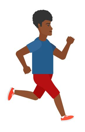 sportive: A sportive man jogging vector flat design illustration isolated on white background. Illustration