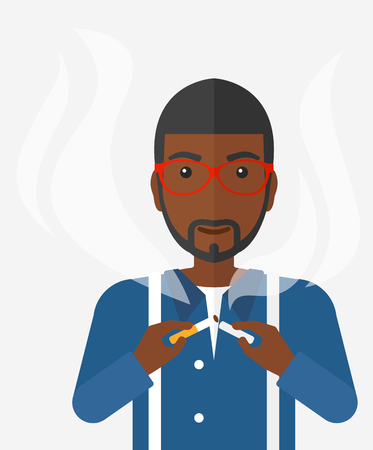 A happy african-american man breaking the cigarette vector flat design illustration isolated on white background.