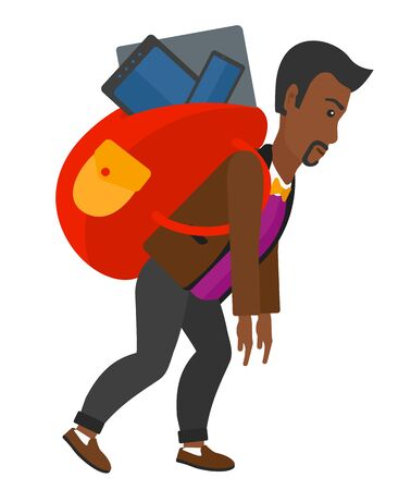cary: A sad african-american man walking with a big backpack full of different devices vector flat design illustration isolated on white background.