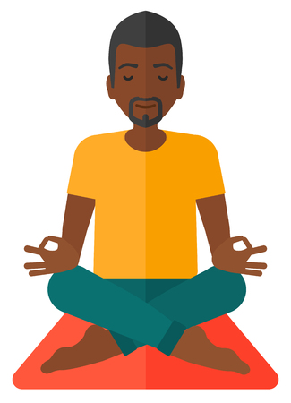 elasticity: An african-american man meditating in lotus pose vector flat design illustration isolated on white background.