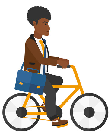 cycle suit: An african-american man cycling to work vector flat design illustration isolated on white background.