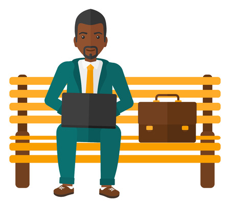 laptop outside: An african-american man sitting on a bench and working on a laptop vector flat design illustration isolated on white background.