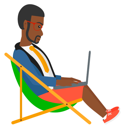 chaise lounge: An african-american businessman sitting in chaise lounge with laptop vector flat design illustration isolated on white background. Illustration