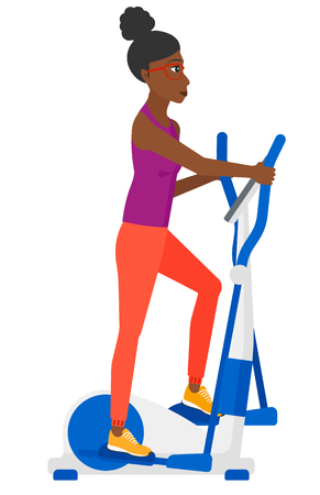 flywheel: An african-american woman exercising on a elliptical machine vector flat design illustration isolated on white background. Illustration