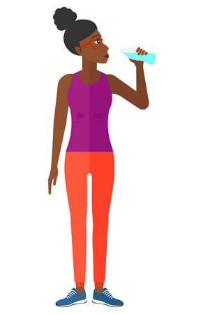 cartoon bottle: A sportive african-american woman drinking water vector flat design illustration isolated on white background.