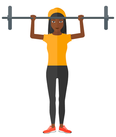 crossbar: An african-american woman lifting a barbell vector flat design illustration isolated on white background.
