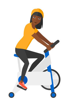 An african-american woman exercising on stationary training bicycle vector flat design illustration isolated on white background. Stock Illustratie