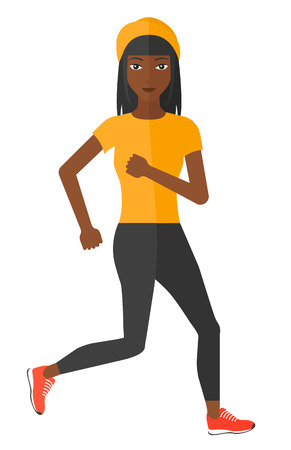 woman smiling: A sportive african-american woman jogging vector flat design illustration isolated on white background.