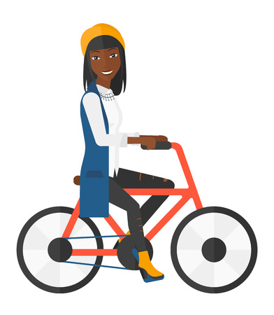 woman smiling: An african-american woman riding a bicycle vector flat design illustration isolated on white background.