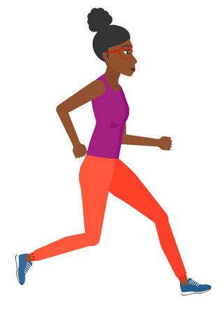 sportive: A sportive african-american woman jogging vector flat design illustration isolated on white background.