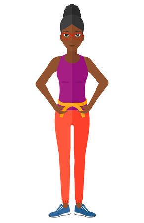 A happy african-american woman measuring her waistline with a tape vector flat design illustration isolated on white background. 일러스트