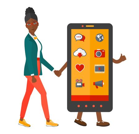 woman smartphone: An african-american woman walking with a big smartphone vector flat design illustration isolated on white background.