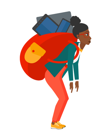 cary: A sad african-american woman walking with a big backpack full of different devices vector flat design illustration isolated on white background.
