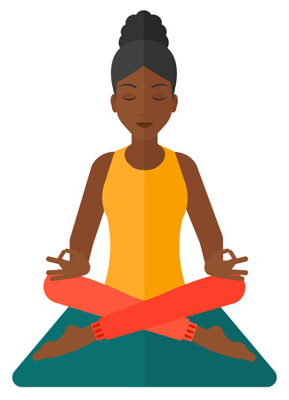 elasticity: An african-american woman meditating in lotus pose vector flat design illustration isolated on white background.