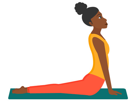 An african-american woman practicing yoga upward dog pose vector flat design illustration isolated on white background. Illustration