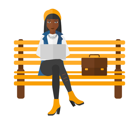 laptop outside: An african-american woman sitting on a bench and working on a laptop vector flat design illustration isolated on white background.