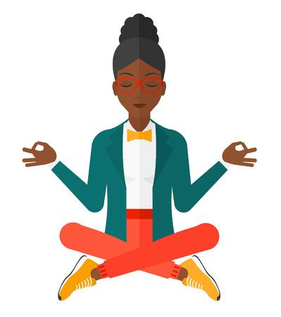 Una mujer de negocios meditando en posición de loto ilustración vectorial diseño plano aislado en el fondo blanco.