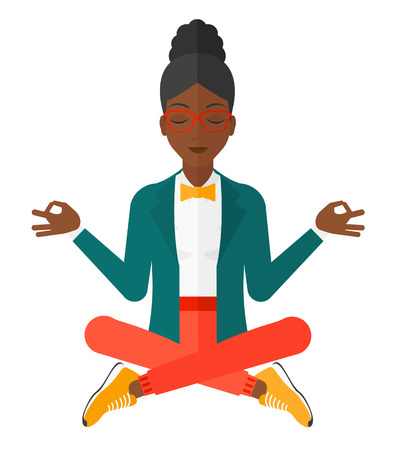 A business woman meditating in lotus pose vector flat design illustration isolated on white background. Illustration