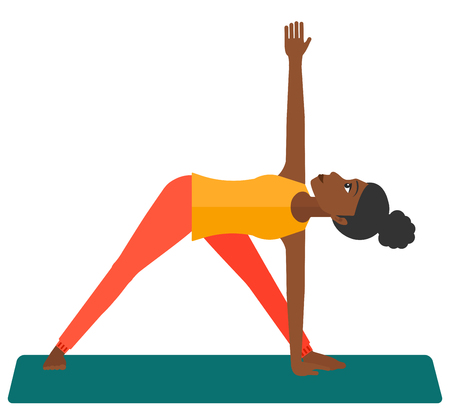 An african-american woman meditating in yoga triangle pose vector flat design illustration isolated on white background.