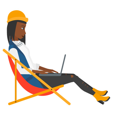 chaise lounge: A business woman sitting in chaise lounge with laptop vector flat design illustration isolated on white background. Illustration