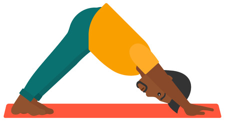 facing: An african-american man standing in yoga downward facing dog pose vector flat design illustration isolated on white background. Illustration