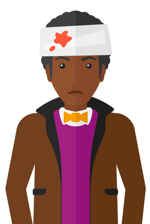 An african-american man with bandages over his head vector flat design illustration isolated on white background.