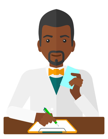An african-american pharmacist taking notes and holding a prescription in a hand vector flat design illustration isolated on white background.