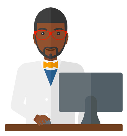 dispensary: An african-american pharmacist standing at the counter in front of computer monitor vector flat design illustration isolated on white background.
