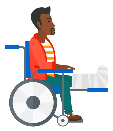 sprain: An african-american patient with broken leg sitting in wheelchair vector flat design illustration isolated on white background.