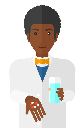 druggist: An african-american pharmacist holding in hands a glass of water and some pills vector flat design illustration isolated on white background.
