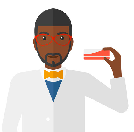 An african-american pharmacist with the beard showing some medicine vector flat design illustration isolated on white background. 向量圖像