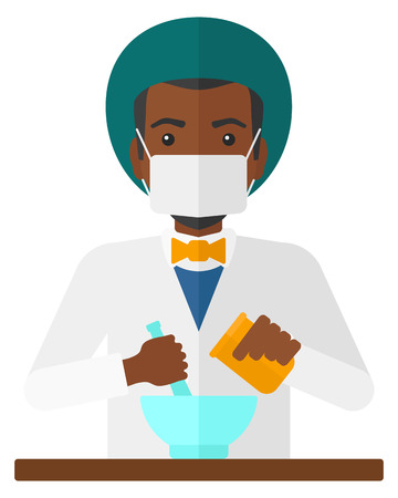 druggist: An african-american pharmacist preparing medicine vector flat design illustration isolated on white background.