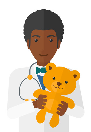 clinical staff: An african-american pediatrician with a stethoscope and a teddy bear vector flat design illustration isolated on white background.