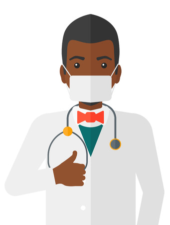 medico: An african-american doctor in mask with stethoscope showing thumb up vector flat design illustration isolated on white background. Illustration