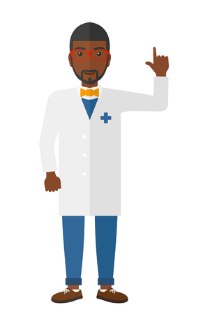 medico: An african-american doctor in medical gown showing finger up vector flat design illustration isolated on white background. Illustration