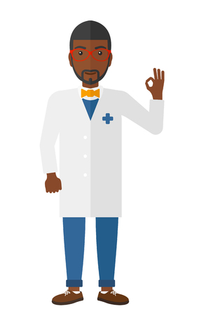 all ok: An african-american friendly doctor in medical gown showing a sign all ok with his hand vector flat design illustration isolated on white background.
