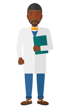 medico: An african-american happy doctor holding a file vector flat design illustration isolated on white background.