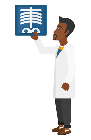 medico: An african-american doctor looking at a radiograph vector flat design illustration isolated on white background. Illustration