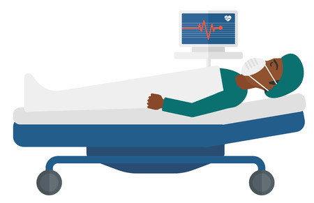 unconscious: An african-american patient in mask lying in bed with a monitor showing his heartbeat vector flat design illustration isolated on white background.