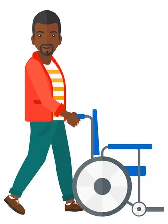Een Afro-Amerikaanse man duwen lege rolstoel vector platte ontwerp illustratie op een witte achtergrond.