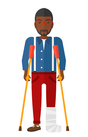 An injured african-american man with broken leg standing with crutches vector flat design illustration isolated on white background. Stock Illustratie
