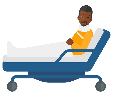 sprain: An african-american patient with injured neck lying in bed vector flat design illustration isolated on white background.