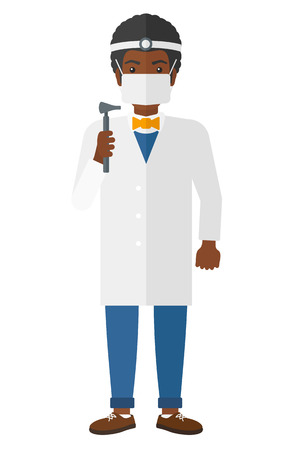 otolaryngologist: An african-american doctor otolaryngologist vector flat design illustration isolated on white background.