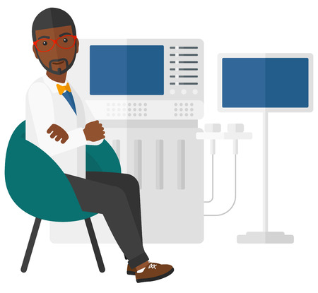 ultrasound: An african-american  male ultrasound specialist with ultrasonic equipment vector flat design illustration isolated on white background. Illustration