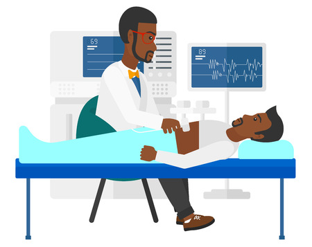 medical examination: An african-american patient laying in bed with ultrasonic equipment during ultrasound medical examination vector flat design illustration isolated on white background.