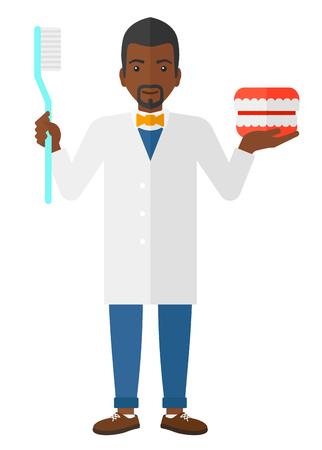 白い背景の上に歯科用顎模型と歯ブラシ ベクトル フラット デザイン イラストでアフリカ系アメリカ人歯科医が分離されました。