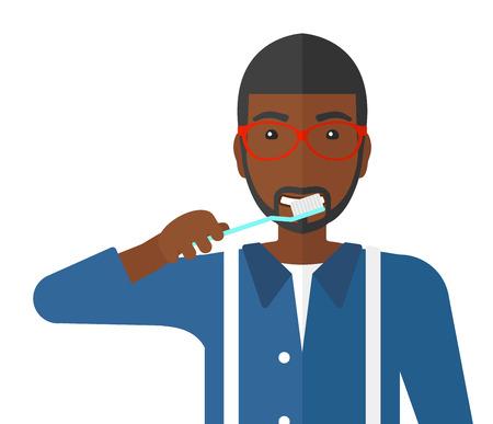 白い背景に分離された歯ブラシ ベクトル平らな設計図で彼の歯をブラッシング アフリカ系アメリカ人の男。