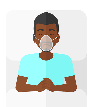 reanimation: An african-american patient lying in hospital bed with oxygen mask vector flat design illustration isolated on white background.